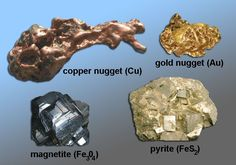 Metals (native copper and gold), magnetite and pyrite