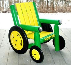 Cute john deere chair. bet u could use pallets for this