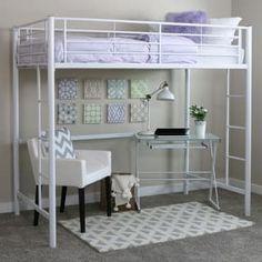 Premium Metal Twin Loft Bed - Silver - Saracina Home, Light Silver Loft Bunk Beds, Metal Bunk Beds, Bunk Beds With Stairs, Kids Bunk Beds, Loft Beds For Teens, Girls Bedroom, Bedroom Decor, Bedrooms, Bedroom Furniture