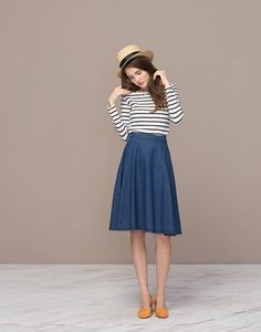 Striped shirt and a-line skirt - one of my favorite outfit formulas