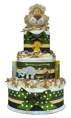 Jungle Baby Diaper Cake.  Seriously adorable