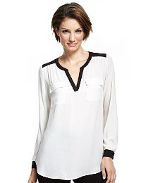M Collection Open Neck Collar Tipped Blouse