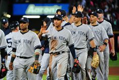 Yankees high five each other
