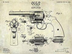 1903 Colt Revolver Patent Drawing Poster by Jon Neidert