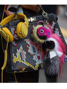 Fendi Karlito fur bag charm