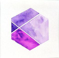 Color Block Purple Geometric Hexagon Watercolor / Geometric Artwork / Nate Berkus inspired $19.00