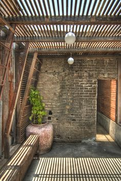 A lot I love about this patio, mostly the weathered brick & wood pergola. Not fresh, but well used. I love history in a #Living Rooms| http://bestoutdoorlivingrooms.blogspot.com