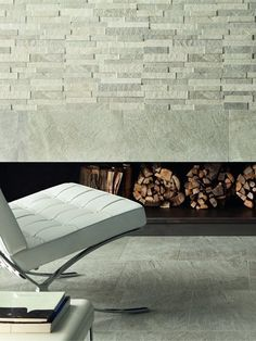Porcelain stoneware wall/floor tiles with stone effect ROXSTONES by @Ceramiche Caesar #stone #fireplace #mies