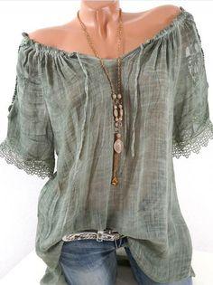 Summer Women Blouse Lace Up Shirt Short Sleeve Off Shoulder Tops Slash Neck  Loose Casual Basic Plus size Blouses Shirts 2018 5704cb146759