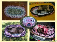 Casa para gato/cão em Trapilho (Trançado e Croché). Flores de Tecido - Rosa Enrolada/Flor Fechada. Artesanato e Reciclagem. Com Passo a Passo.