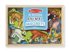Wooden Animal Magnets : Everyone is attracted to these magnetic animals!  Twenty favorite wild and domesticated animals in a compact wooden case are waiting to play._ $12