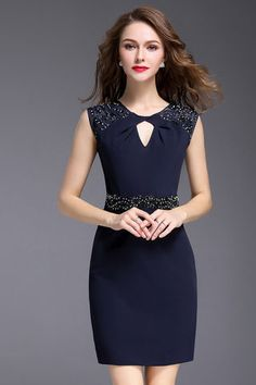 Stylish O-Neck Sleeveless Beaded Hit Color Skinny Dress Elegant Dresses, Casual Dresses, Short Dresses, Formal Dresses, Dress Skirt, Lace Dress, African Fashion Dresses, Classy Dress, Dress Patterns