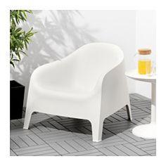 IKEA - SKARPÖ, Lenestol, utendørs, grå,  , , Regnvann renner ut gjennom hullet i stolsetet.Kan stables, noe som hjelper deg med å spare plass.