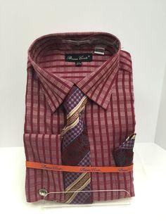 3360642082 Bruno Conte Dress Shirt Burgundy, Khaki & Blue Tie, Hankie, Cuff Links BC989