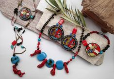 Painted Set Necklace Bracelet Earrings inspired by Ancient Greek Minoan Art. Boho Blue Red Brown Jewelry Set Gift with Semi-Precious stone. Jewelry Art, Jewelry Gifts, Minoan Art, Ancient Greek Art, Wooden Earrings, Business Gifts, Paint Set, Short Necklace, Necklace Sizes