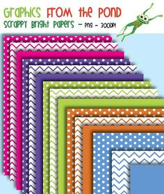 Freebies from TpT: Graphics From the Pond: FREE Bright Scrappy Numbers Super Pack Digital Scrapbook Paper, Digital Papers, Digital Backgrounds, Borders And Frames, Frame Clipart, Paper Frames, Printable Paper, Cool Fonts, Free Paper