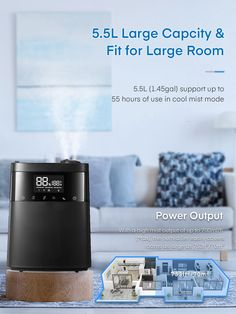 iTvanila  Humidifier, 5.5L Top Fill, Warm and Cool Mist Humidifiers for Bedroom with LED Touch Display, Customized Humidity, Sleep Mode, 12H Timer, for Bedroom, Living Room, Office and Baby Room (Black)