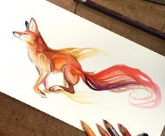 regram @worldofartists Fire fox By @katy_lipscomb - #WorldofArtists   @morganismusic fox patronus?