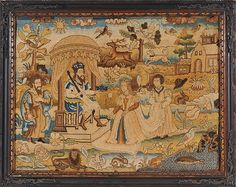 QUEEN of SHEBA visiting KING SOLOMON: English c. 1660  This tent-stitch picture depicts the Queen of Sheba (now the country of Yemen) visiting King Solomon: circa 700 BCE, and was worked in England around 1660. Executed with variety of colored silk threads in extremely fine tent-stitch, it is representative of the finest needlework of the period.