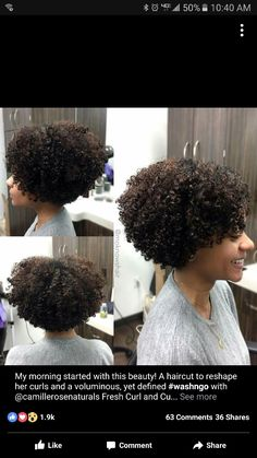Celebrities with short curly hair styles Natural Hair Cuts, Curly Hair Cuts, Natural Hair Journey, Natural Curls, Curly Hair Styles, Natural Hair Styles, Love Hair, Gorgeous Hair, Pelo Afro