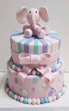 Cute pastel two tiered Pink Elephant cake. Perfect cake for Baby Shower cake or little ones Christening or Birthday. Pretty Cakes, Cute Cakes, Beautiful Cakes, Amazing Cakes, It's Amazing, Gateau Baby Shower, Baby Shower Cakes, Baby Cakes, Cupcake Cakes