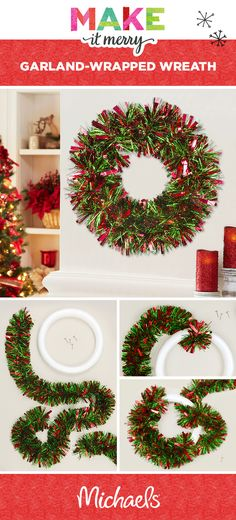 """Making it merry has never been so easy! Deck your halls or door with this simple Christmas Tinsel Wreath DIY! All you need for this project is a tinsel garland, a foam ring, and push pins.  1. Tuck, and then wrap the garland around the ring until the foam is no longer visible. 2. Push pins on the ends and where necessary to secure the garland. 3. Hang on your wall! Learn more about this and other projects at michaels.com"""""""
