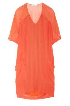 summer dresses 2013 orange helmut lang oasis voile chiffon dress POCKETS