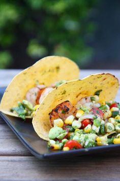 shrimp tacos with grilled poblano and avocado salsa