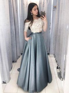 Princess Prom Dresses, 2 Pieces Long Lace Satin A-Line Elegant Prom Dresses For Teens, Plus Size Formal Dresses and Plus Size Party Dresses are great for your next special Occassion at cheap affordable prices The Dress Outlet. Prom Dresses With Pockets, Prom Dresses Two Piece, Evening Dresses With Sleeves, Prom Dresses For Teens, Elegant Prom Dresses, Half Sleeve Dresses, A Line Prom Dresses, Modest Dresses, Trendy Dresses