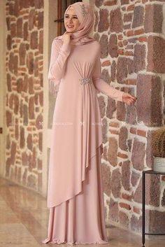 Powder Stone Evening Dress – – Best Of Likes Share Hijab Evening Dress, Hijab Dress Party, Hijab Style Dress, Abaya Style, Muslim Evening Dresses, Mode Abaya, Mode Hijab, Abaya Fashion, Fashion Dresses