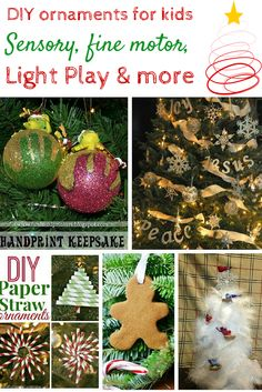 Here are 10 DIY ornaments for kids to work on sensory, light play, fine motor, literacy, sight words and so much more. Grab the glue and the glitter and let's get started!