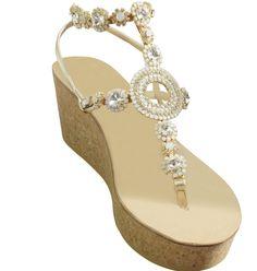 03c4d75e7 Valentina Natural Three Inch Jeweled Gladiator Wedge