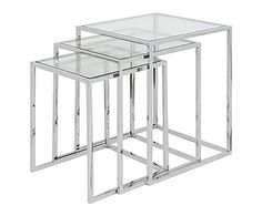 Set van 3 tafels John, zilver/transparant