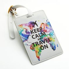 Keep calm and travel on colorful world map pu leather luggage tag bag tag id tag by BeanBeanCase, $7.49