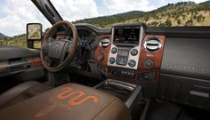 Tough meets luxury inside the Super Duty<sup>®</sup> King Ranch<sup>®</sup> with features such as Mesa Brown leather upholstery and unique woodgrain trim.