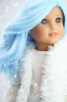 "Snowflake Blue Pink Pastel Breeze Wig Heat Safe for 18"" Custom American Girl Dolls: Beautifully Custom Exclusive"