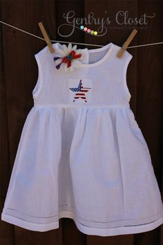 All American Baby and Little Girl White Linen by gentryscloset, $32.00. Perfect for 4th of July!