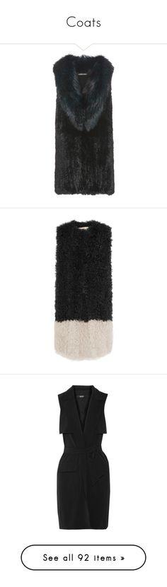 """Coats"" by bliznec ❤ liked on Polyvore featuring outerwear, vests, jackets, black, merino vest, fur waistcoat, fur gilet, fur gilet vest, diane von furstenberg and shearling vests"