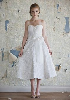 Charlotte Rosette Wedding Dress | Tea Length Bridal Dresses And 50s Wedding Dresses At ShopRuche.com