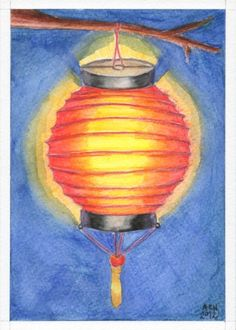 Red Paper Lantern hanging from a tree original in watercolor pastels
