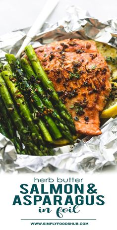 Easy, healthy, garlic herb butter salmon and asparagus foil packs are a quick and tasty 30-minute meal for summer nights, camping, and cookouts. The flaky salmon and tender asparagus will melt in your mouth! #easy_recipes #Keto_diet #low_carb_meals #Paleo_diet #meal_prep Seafood Recipes, Cooking Recipes, Healthy Recipes, Healthy Asparagus Recipes, Asparagus Meals, Cooking Chef, Easy Appetizer Recipes, Easy Dinner Recipes, Easy Recipes
