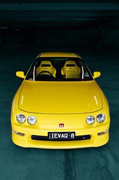 Honda Integra Australian limited edition Sunlight Yellow DC2 ITR Model#Rocketbunny lover? #GotJDM? Check out #Rvinyl's #JDM #Slammed & #Stanced board.