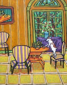 JACK RUSSELL pear thief dog signed art print 11x14 animals impressionism new