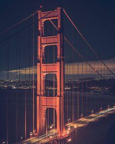 San Francisco Bridge, San Francisco At Night, Night Photography, Travel Photography, Travel Around The World, Around The Worlds, Make A Door, Pacific Heights, Light Trails