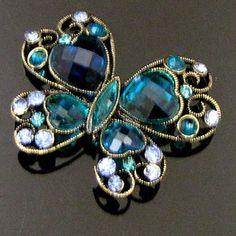 ADD'L Item FREE SHIPPING 1 pc antiqued rhinestone butterfly brooch pin | eBay
