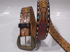 bunter Leder Vintage Gürtel Ethno top Qualität !