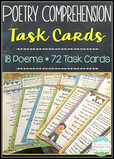 Poetry Comprehension Task Cards.  18 Original Poems and 72 accompanying comprehension task cards!$