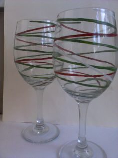Hand Painted Christmas Wine Glasses ~ Ribbons by TheScarletLine,  $25.00