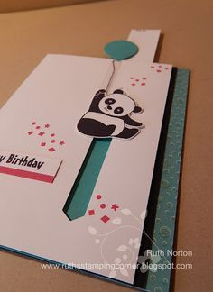 2017 Slider pull tab CARD using PARTY PANDAS 147218 (wood blocks included) 147221 (suggested clear blocks: a, d, e, g) 7 rubber stamps , Creative Birthday Cards, Handmade Birthday Cards, Happy Birthday Cards, Tarjetas Diy, Birthday Card Drawing, Slider Cards, Bday Cards, Interactive Cards, Fancy Fold Cards