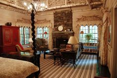 Twin Farms Inn, Vermont .. Amazing Chinoiserie cornices made from sticks! One of the last projects of Jed Johnson